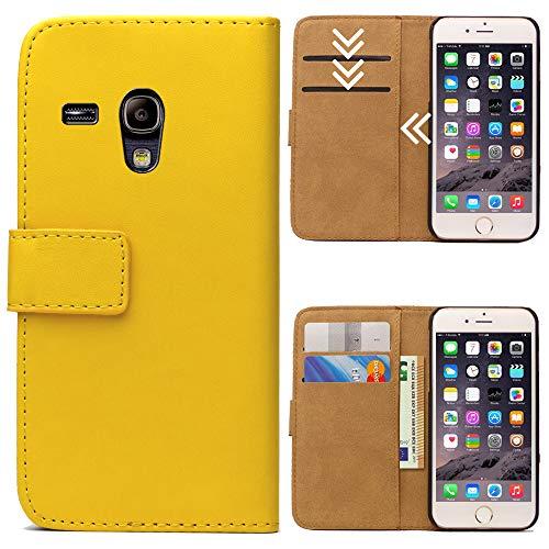 Roar Handytasche für Samsung Galaxy S3 Mini, Flipcase Tasche Schutzhülle Handyhülle für Samsung Galaxy S3 Mini Bookcase Wallet mit Magnet, Gelb