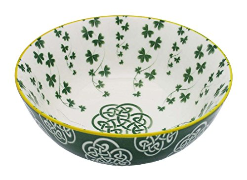 Irish Celtic Bowl With Trellis Shamrock Design 14cm