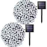 JMEXSUSS 2 Pack Solar String Light 100LED 42.7ft 8 Modes Solar Christmas Lights Waterproof for Gardens, Wedding, Party, Homes, Christmas Tree, Halloween, Curtains, Outdoors (White)
