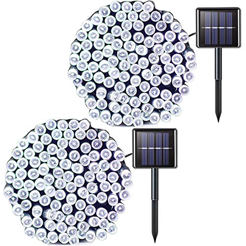 JMEXSUSS 2 Pack Solar String Light 200LED 755ft 8 Modes Solar Christmas Lights Waterproof for Gardens Wedding PartyChristmas TreeCurtainsValentinesXmasOutdoors 200LEDWhite2Pack