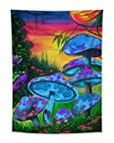 HVEST Trippy Mushroom Tapestry Wall Hanging Psychedelic Wonderland Tapestry Fairytale Fantasy Forest Tapestry Abstract Mushroom Tapestry for Bedroom Room Dorm Party Decor, 60Wx40H inches