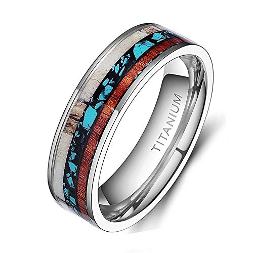 TIGRADE 6mm 8mm Deer Antlers Titanium Ring Turquoise Wood Inlaid Wedding Band,6mm, Size 6