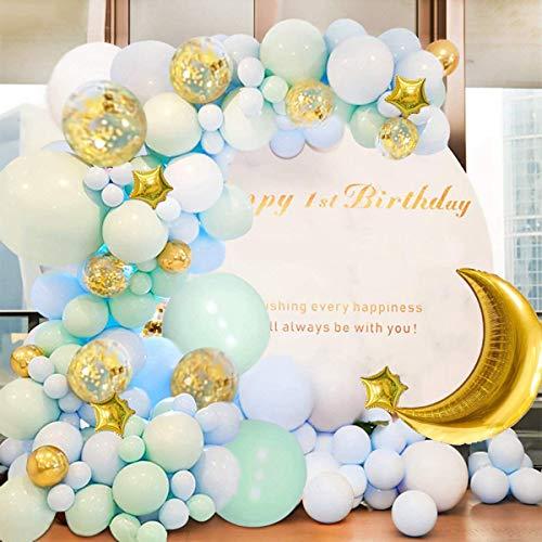 Yiran 100pcs Blu Ghirlanda Palloncino Kit Arco Palloncini Macaron Blu e Verde Palloncini Luna Stella Foglio Lattice con Palloncino Nastro per Compleanno Sfondo di Nozze Decorazione per Feste