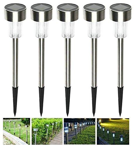 5er LED Solarleuchte Gartenleuchte,KINGCOO Edelstahl Energie Sparende Wegeleuchten Wasserdichte Solarlampe Landschaft Lichte für Garten Rasen Gehweg Außen (Weiß)