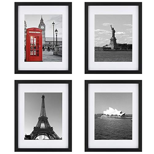 ONE WALL Tempered Glass 11x14 Picture Frame Set of 4 with Mats for 8x10, 5x7 Photo, Black Wood Frame for Wall and Tabletop - Mounting Material Included