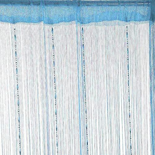 Eastery Dew Drop Perlen Kette String Vorhang Panel String Tür Vorhang Einfacher Stil Insektenschutz Saite Für Türen Trennwand Oder Fenster Vorhang Panel Armee Grün (Color : Blau, Size : Size)