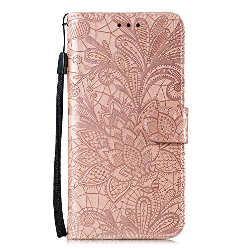 JZ Capa carteira protetora Mi CC9 Pro Lace Flowers para Xiaomi Mi CC9 Pro/Mi Note 10 com alça de pulso e capa flip magnética - ouro rosa