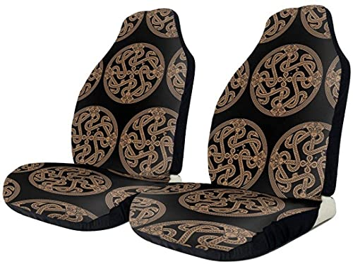 2 PCS Car Seat Covers, Ancient Decorative Dragon Celtic Style Knot Auto Front Seats Protector, Durable Quality Seat Covers Universal Fits for Car, SUV, Truck, Van Carseats