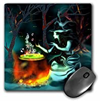 3drose LLC 8 x 8 x 0.25インチマウスパッド、ゴースト魔女with Mysterious Glowing Eyes Cooks Up a Spooky Brew in the Dark Misty Woods。( MP _ 127912 _ 1 )