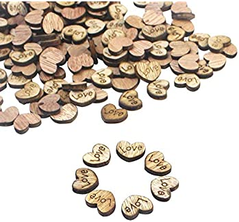 Goldenlight 500Pcs Rustic Wooden Love Heart Wedding Table Scatter Decoration Cute Wood Hearts for Crafts Bulk DIY