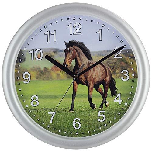 SELVA Reloj de pared para niños, diseño de caballos, carcasa de ABS, cristal de plástico, silencioso, diámetro de 25 cm