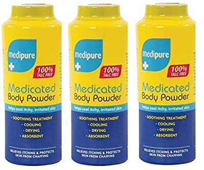 3 x Medipure Talc Free Medicated Body Powder Itchy Skin Soothes Absorbs Dry 200g by Aolvo