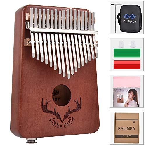 MeterMall Nützlich für 17 Tasten EQ Kalimba Mahagoni Daumen Piano Kalimba Finger Piano mit elektrischem Tonabnehmer Tuner Hammer Anfänger Musik Lernen