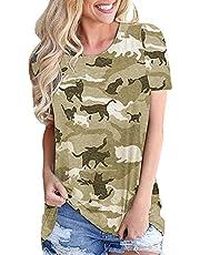 RWXXDSN Dames mode casual ronde hals camouflage print korte mouwen losse T-shirt top