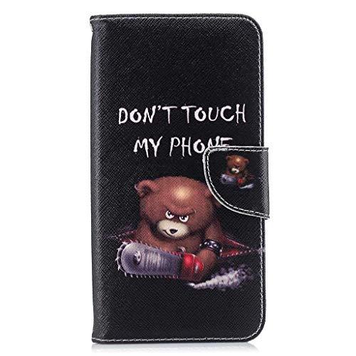 Veapero Kompatibel für Hülle Huawei Y5 2019 Handyhülle Hülle PU Leder Hülle Wallet Tasche Soft TPU Innere Schutzhülle Schale Ständer Kartenfach Magnetverschluss Brieftasche,Bär