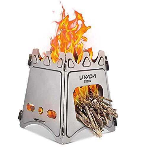 Lixada Estufa de Leña Compacto Plegable para Cámping Cocina Picnic Al Aire...