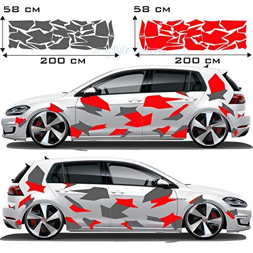 Tarn Auto Camouflage Aufkleber Seitenaufkleber Cyber Style Style Verkleidung CAMO Flecktarn Kuh Haut Tuningaufkleber
