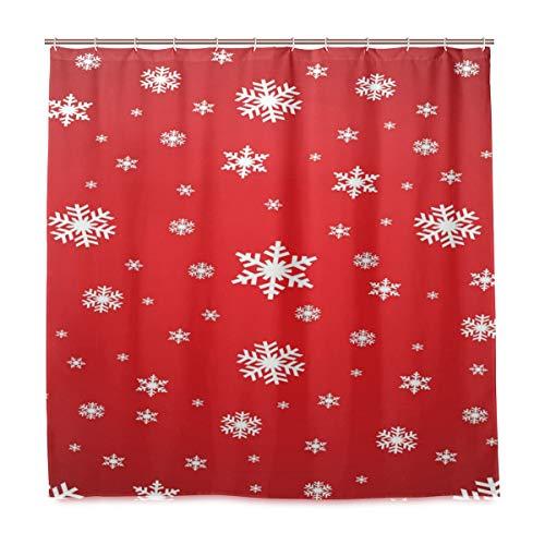 Weihnachts-Duschvorhang, Schneeflocke, für Badezimmer, Heimdekoration, Weihnachtsmotiv, Winter, Neujahr, Stoff, schimmelresistent, wasserdicht, für die Badewanne, mit 12 Haken, 183,0 x 183,0 cm, Rot