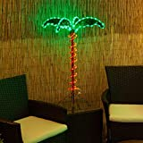 Deluxe Tropical LED Rope Light Palm Tree with Lighted Holographic Trunk and Fronds (2.5 Foot)