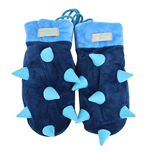 ABBY Lumineux lumineux hedgehog gants mignon de bande dessinée en tissu gants hommes et femmes suspendus cou gants/Bleu