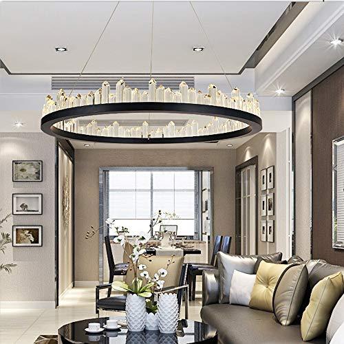 DC Wesley Lámpara LED de 3 colores con luz de intensidad redonda de cristal para decoración del hogar, lámpara de salón, moderno y minimalista (color: negro, tamaño: diámetro de 40 cm)