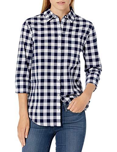 Amazon Essentials Classic-fit 3/4 Sleeve Poplin Shirt Athletic-Shirts, Cuadros Azul Marino/Blanco, M