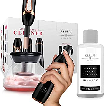Makeup Brush Cleaner and Dryer Machine Electric Cosmetic Automatic Brush Spinner with Rubber Collars Wash and Dry in Seconds Deep Cosmetic Brush Spinner for Makeup Brushes