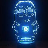 Baby Minions 3D Illusion Lampe, LED Schlafzimmer Dekoration Lampe, 7 wechselnden Farben Touch Nachtlicht für Baby Schlafzimmer Dekoration Kinder Geschenk