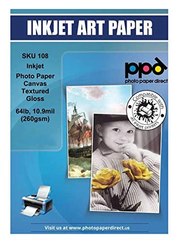 PPD Inkjet Glossy Canvas Textured Heavyweight Photo Paper 8.5x11' 64lbs. 260gsm 10.9mil x 50 Sheets (PPD-108-50)