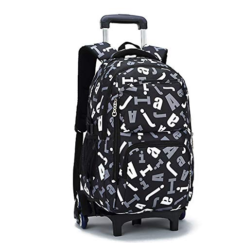 FREETT Student Trolley Backpack, Child Trolley Bag with Wheeled and Laptop Compartment, Trolley Suitcase for Boy University, 32 * 18 * 49 cm,Black