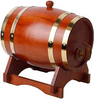Tonneau à vin en Bois Tonneau en Chêne de 1,5 L, Seau en Chêne avec Doublure en Aluminium pour Votre Bière à Whisky et Vot...