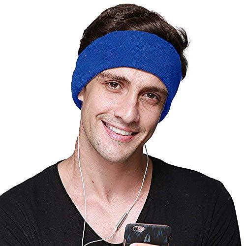 CHOKMAX Slaap Hoofdtelefoon, met Ultra Dunne Verstelbare Speakers Comfortabele Zachte Fleece Hoofdband Slaap Oog Masker voor Slapen, Perfect voor Luchtreizen, Sport, Ontspanning, Meditatie en Slapeloosheid Blauw
