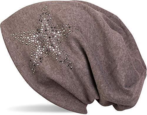 styleBREAKER Gorro Beanie con Estrellas Strass y Piedras Preciosas en Tonos Plata-Antracita, Gorro Slouch Beanie Largo, Unisex 04024087, Color:Marrón Topo Moteado