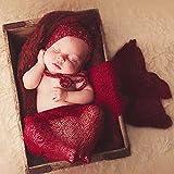 ZUMUii Butterme Bebé Recién Nacido Soft Stretchy Envuelto De Punto Bebé Foto Fotografía Accesorios(Vino Tinto)