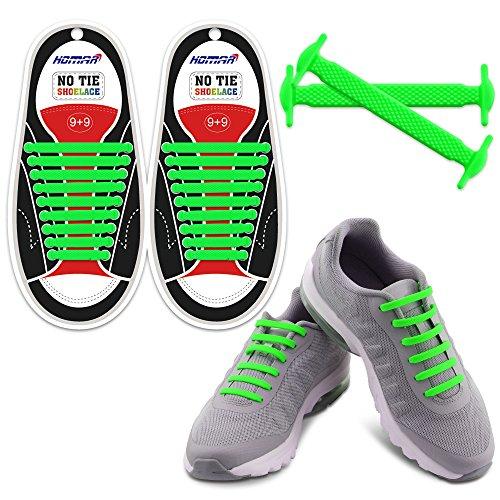 Homar No Tie Lacci per scarpe per bambini e adulti - Impermeabile in silicone elastico piatto Laces Athletic scarpa da corsa con multicolore per Scarpe Sneakerboots bordo e scarpe casual (Adult Size Green)
