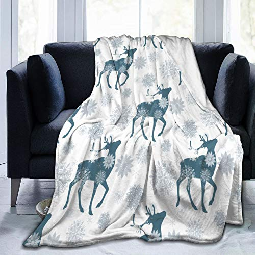 Dachangtui Ultra-Soft Micro Fleece Blanket,Winter Blue Reindeer And Snowflakes On White,Home Decor Warm Throw Blanket for Couch Bed50'X40'