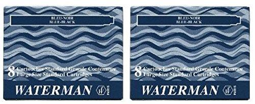 Waterman S0110910 - 2 Etuis mit 8 Großraum-Tintenpatronen blauschwarz, Tinte löschbar (2 Päckchen blauschwarz)