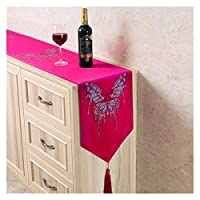 テーブルランナー ヨーロッパ風のベルベット熱い掘削蝶の夕食のテレビキャビネットテーブルフラグホーム結婚式のパーティーの装飾テーブルランナーモダン (Color : Rose Red, Size : 32x180cm)