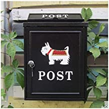 Mailbox HTTXX European Classical Villa Mailbox Pastoral Retro Wall Letter Box Waterproof Outdoor Thicker Post Mailbox with Lock HTTXX (Color : Schnauzer Black)