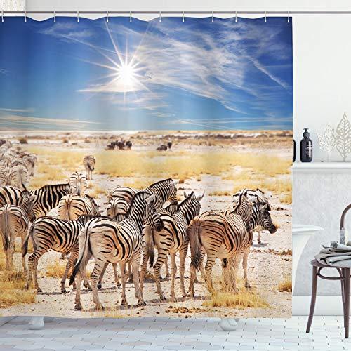 Ambesonne Wildlife Decor Duschvorhang, Zebras in Savanne Wüste Wasserloch an heißen Tag Afrika Safari Adventure Land Druck, Stoff Badezimmer Dekor Set mit Haken, 213 cm extra lang, blauer Sand