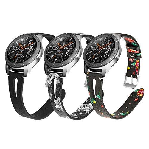 YSSNH Compatible con Correa Samsung Gear S3 22mm Pulsera de Repuesto de Cuero Banda de Reloj de Patrón Delgado para Galaxy Watch 46mm/ Gear S3 Frontier/Gear S3 Classic para Mujer