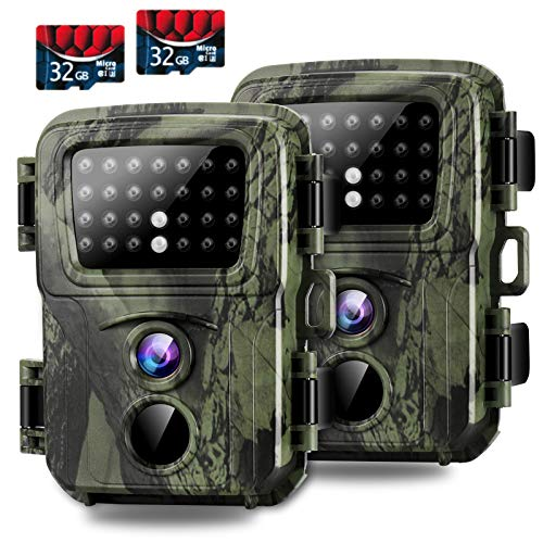 Mini Trail Camera,【2 Pack】 20MP 1080P with 32GB Card Game Cameras with Night Vision Motion Activated Waterproof Hunting Camera 80FT Detection Distance for Wildlife Monitoring