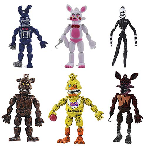 Set of 6 pcs FNAF Action Figures Toys Dolls Gifts Cake Toppers, 6 inches