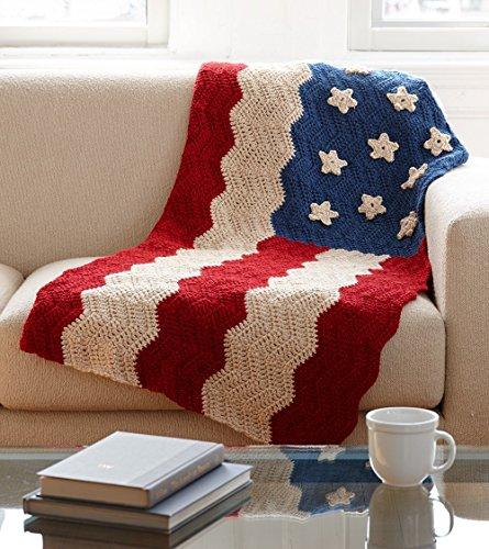 Lion Brand Yarn 600-558 Flag Afghan Crochet Kit