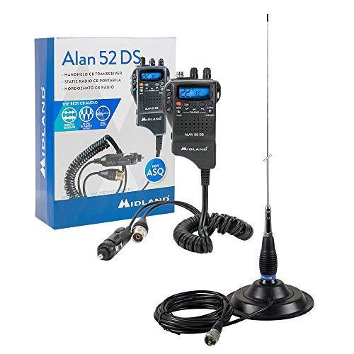 Estación de Radio CB Midland Alan 52 DS + Antena CB PNI ML145 con imán 145PL