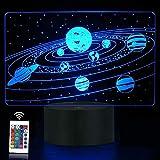 Universo 3D ilusión luz nocturna, sistema solar lámpara de cabecera con control remoto 16 colores cambiantes, novedad...