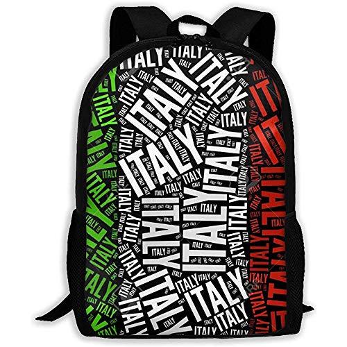 Casual Schultasche Italienische Flagge Bilder Grafikdesign Rucksack Frauen 3D Print Daypacks Für Männer