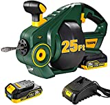 TECCPO Drain Auger, Automatic Plumbing Snake, 25Ft(7.6m), 20-Volt Li-Ion, Perfect Cordless Drain Clog Remover, Power Tool for 3/4' to 2' Pipes, Replaceable Flexible Shaft