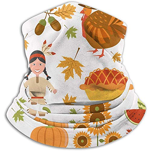 Niet toepassbare Thanksgiving Day Icon Set vlakke unisex fleece halswarmer gezichtwarmer hals tube nek schaar nek gaiters