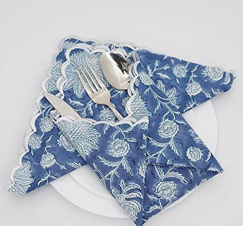 RIDHI : Spruce Blue and Off Low price Cotton White Napkin 2021 Cloth Napki Set